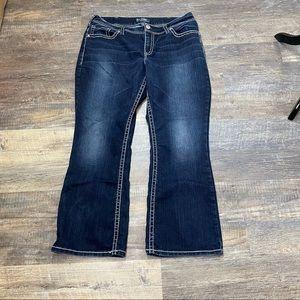 Silver Dark Wash Suki  Flap Jeans Size 18
